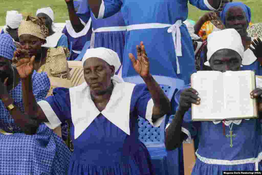 South Sudanese women pray on the country's national day of prayer, which was held ahead of celebrations of two years of independence on July 9, 2013.