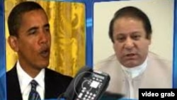 Presiden Amerika Barack Obama telah menyampaikan ucapan selamat melalui telepon kepada Nawaz Sharif (kanan).