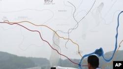 Ngôi làng Panmunjom gần Đường phân giới quân sự hai miền Triều Tiên.