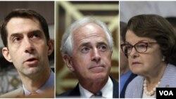 سناتورهای آمریکایی، از راست، دایان فاینستاین، باب کورکر و تام کاتن