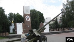 莫斯科郊外的一處二戰蘇聯紅軍紀念碑。 (美國之音白樺拍攝)