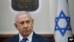 El primer ministro de Israel, Benjamin Netanyahu, asite a su reunión semanal de gabinete en su oficina en Jerusalén el 7 de octubre de 2018.