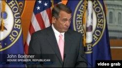 美國眾議院議長貝納一個月前出人意料宣布將辭職(VOA視頻截圖)