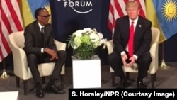 U.S. President Donald Trump meet with Rwandan President Paul Kagame at the World Economic Forum in Davos, Switzerland, Jan. 26, 2018.