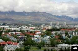 FILE - A view across Reykjavik in Iceland from Oskjuhlid Hill, May 31, 2008.
