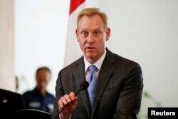 2019年5月30日美国代理国防部长帕特·沙纳汉在印度尼西亚雅加达对媒体讲话