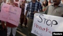 Manifestation contre les crimes d'honneur à Islamabad au Pakistan le 1er septembre 2008.