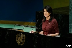United States Ambassador to the United Nations, Nikki Haley, addresses the General Assembly prior to the vote on Jerusalem, on December 21, 2017