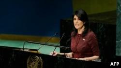 Đại sứ Mỹ tại Liên Hiệp Quốc Nikki Haley phát biểu trước Đại Hội đồng Liên Hiệp Quốc, ngày 21 tháng 12, 2017.