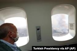 Manavgat'taki yangını havadan izleyen Cumhurbaşkanı Erdoğan