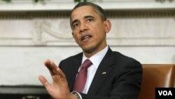 Presiden Barack Obama saat menyampaikan pidato mingguannya, Sabtu (29/10).
