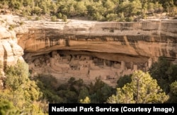A view of the Cliff Palace cliff dwelling at Mesa Verde National Park
