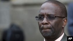 Kenya's new chief justice Willy Mutunga shown at his swearing ceremony in Nairobi, June 20, 2011.