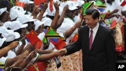 지난해 3월 아프리카 탄자니아를 방문한 시진핑 중국 국가주석이 공항에 환영 인사를 나온 전통 무용단과 악수하고 있다.