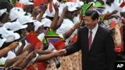 Chủ tịch Trung Quốc Tập Cận Bình (phải) bắt tay với các vũ công nhạc truyền thống khi ông đặt chân tới Dar es Salaam, thủ đô Tanzania, 24/3/2013.