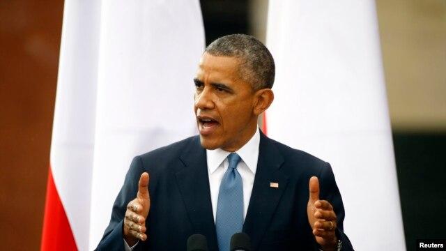 Tổng thống Mỹ Barack Obama phát biểu trong buổi lễ đánh dấu ngày 'Tự do' tại Warsaw, ngày 4/6/2014.