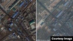 지난해 1월11일 신의주를 촬영한 구글어스/CNES 에어버스 제공 위성사진(왼쪽)과 지난달 27일 '디지털 글로브/테라서버'의 위성사진. '조중친선다리' 북한쪽 도로에 컨테이너 트럭의 숫자가 크게 줄어든 모습을 확인할 수 있다.