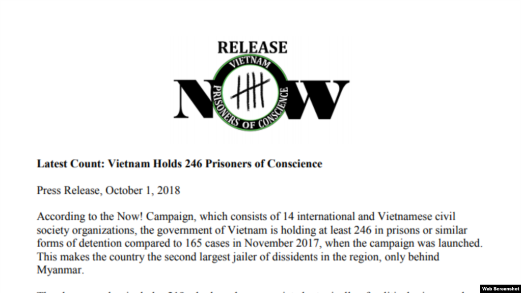 Thông cáo của Now Campain! việc Việt Nam đang giam giữ 246 tù nhân lương tâm. Photo dvov.org