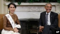 2016年9月14日,奧巴馬總統與緬甸領導人昂山素姬在白宮總統辦公室會面後對媒體講話。