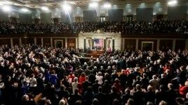 Le président Obama prononçant son discours sur l'état de l'Union au Congrès
