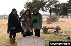 Gudrun Drofn Emilsdattir, right, sister Kimberly Lineberger, center, and newly-discovered cousin Shelby Foster visiting the Oklahoma cemetery where their ancestors are buried.