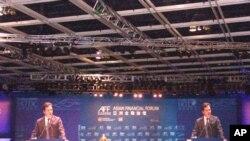 英国财政大臣奥斯本在香港亚洲金融论坛上演讲