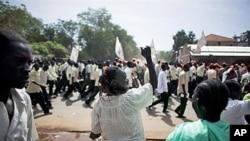 苏丹南部选民在9月9日高喊支持独立的一景