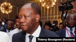 Le président Alassane Ouattara de la Côte d'Ivoire, 10 avril 2017.
