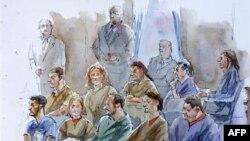 Bức họa 10 người thú nhận là gián điệp Nga tại một phiên tòa ở New York