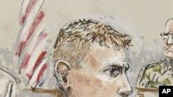 美軍上士卡爾文.吉布斯(法庭素描畫像)在華盛頓州的一個陸軍駐地被一個軍事陪審團判決有罪。