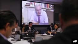 WikiLeaks founder Julian Assange addresses a meeting via videolink from Ecuador's London embassy during the United Nations General Assembly at U.N. headquarters, September 26, 2012.