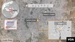阿勒颇被炸毁的百年饭店Carlton Hotel所在位置