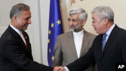 Saeed Jalili, sakataren kungiyar tsaron Iran, tare da ministan harkokin wajen Kazakhstan, Yerlan Idrisov, Feb. 26, 2013