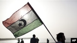 A man holds a pre-Gadhafi era national flag in Benghazi, Libya, Sunday, June 5, 2011
