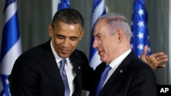 Tổng thống Obama và Thủ tướng Israel Netanyahu tại Jerusalem, 20/3/2013. (AP Photo/Carolyn Kaster)