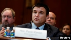 Ukrainian Foreign Minister Pavlo Klimkin testifies before a Senate subcommittee on Capitol Hill in Washington, March 7, 2017.