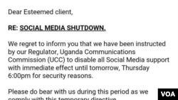 Ce message apparaît quand les Ougandais essaient d'accéder a leurs réseaux sociaux.