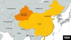 Bản đồ tỉnh Tân Cương (màu cam) của Trung Quốc