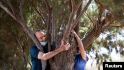 A couple take part in a campaign by Israel's Nature and Parks Authority calling on Israelis to join sightseeing tours and find comfort in tree hugging amid an increase of COVID-19 in Apollonia National Park, near Herzliya, Israel July 7, 2020. (REUTERS/Ronen Zvulun)