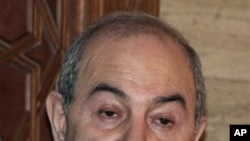 Former Prime Minister Ayad Allawi speaks to reporters after a meeting with Syrian President Bashar Assad in Damascus, Syria, 29 Sep 2010