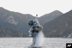 A photo shows the underwater test-fire of a strategic submarine ballistic missile in this undated photo released by North Korea's Korean Central News Agency (KCNA) in Pyongyang, April 24, 2016.
