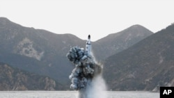 This photo of a purported underwater test-fire of a ballistic missile from a submarine was released April 24, 2016, by North Korea's Korean Central News Agency.