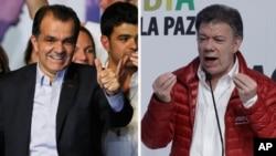 Óscar Iván Zuluaga y Juan Manuel Santos, candidatos para la segunda vuelta presidencial en Colombia.