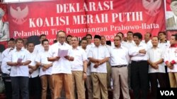 Tim Pemenangan Prabowo-Hatta dalam acara pelantikan di Yogyakarta, Minggu (1/6).