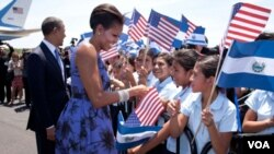 Prezidan Barack Obama ak premyè dam nan Michelle Obama