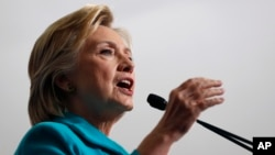 Democratic presidential candidate Hillary Clinton speaks during a campaign event at Truckee Meadows Community College, in Reno, Nevada, Aug. 25, 2016.