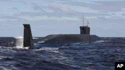 FILE - Russian nuclear submarine is seen during sea trials near Arkhangelsk, Russia.