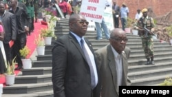 Nathan Shamuyarira (right) left active politics in 2010 to dedicate time to putting together a book on Zimbabwe's liberation struggle, especially a memoir on President Mugabe's central role in Zimbabwe's liberation struggle. (Courtesy Photo: Citizen Journalsit)