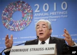 International Monetary Fund's Managing Director Dominique Strauss-Kahn warns against a race to devalue currencies