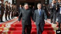 Ông Kim Jong Un và ông Moon Jae-in gặp nhau vào tháng 5/2018.